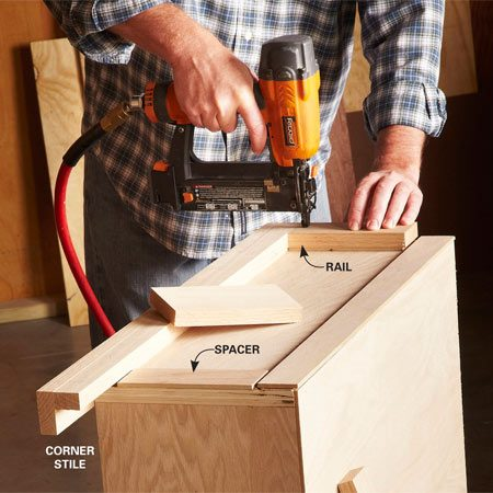 <b>Photo 5: Attach rails and stiles instantly</b></br> <p>Traditional rails and stiles require clamps and time-consuming joinery. A brad nailer eliminates that whole process. Just glue and tack the spacers into place, then glue and nail on the rails and stiles. Use only enough nails to hold the parts in place while the glue sets.</p>