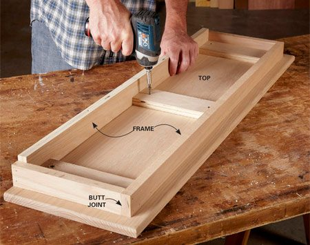 <b>Photo 9: No need to miter the frame</b></br> <p>The square-cut butt joints at the corners of the frame make cutting and joining the parts a lot easier. (The same goes for the baseboards shown in Photo 7.) Assemble the frame with glue and nails, then center the assembly and screw it to the underside of the top.</p>