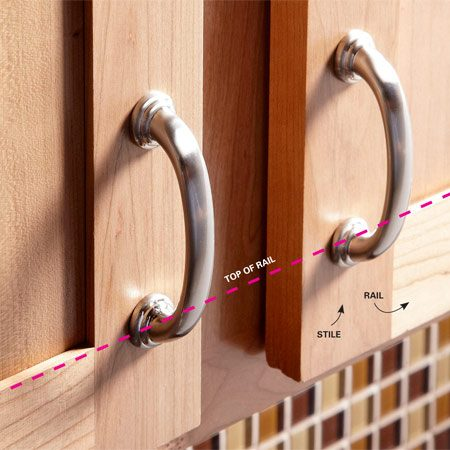 <b>Standard practice</b><br/>The location of knobs and pulls isn't written in stone, but there are some &ldquo;standard practices&rdquo; to install cabinet hardware. One good rule of thumb is to line up a knob with the top of the bottom door rail. If you're installing door pulls, line up the bottom of the pull with the top of the door rail. Always center them on the door stile.