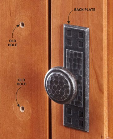 <b>Good problem solver for older cabinets</b><br/>If you're switching from a pull to a knob or you'd prefer to select pulls with a different hole pattern, you can cover the old holes or hide damaged surfaces with back plates. Home centers don't have a huge selection, so consider buying yours from an online source like <a href='http://www.myknobs.com' target='_blank' rel='nofollow'>myknobs.com</a>. You'll find hundreds to choose from.