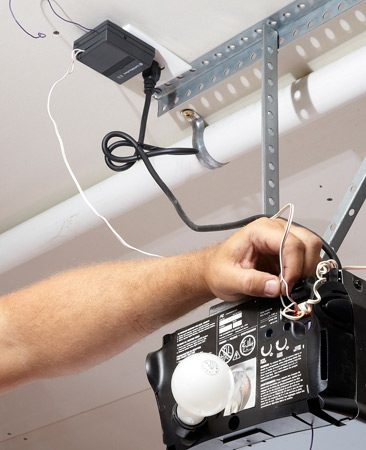 <b>Install a new receiver</b></br> Plug your new receiver into an outlet and run two wires to the opener.