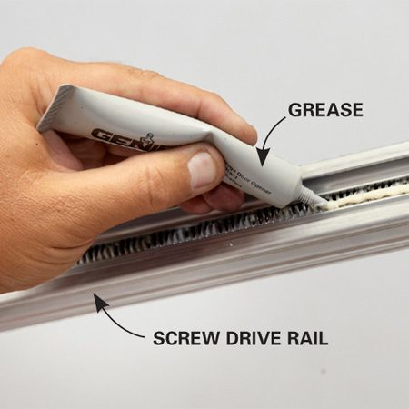 <b>Grease the screw drive rail</b><br/>Once a year, apply 1- to 2-in. dabs at three points along the rail.