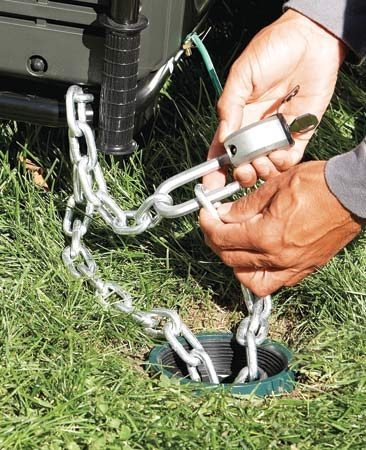 <b>Anchor valuable trailers and equipment</b></br> <p>Pour concrete in a Sonotube concrete form in the ground and leave a U-bolt sticking out of the top to loop a chain through. This works great for trailers, mowers and generators. I run a heavy 5/16-in. chain through everything and padlock it to the concrete anchor.</p>  <p><strong>Keith Lamberson,<br> Field Editor</strong></p>