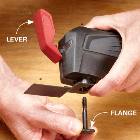 <b>Craftsman</b></br> Just flip the lever forward to loosen or remove the flange. This tool also works with Ridgid and Rockwell accessories. Add an adapter ring  to use other brands like Bosch or Porter-Cable. The system adds some bulk to the front of the tool, making the maximum cut depth about 1/2 in. less than with most other models.