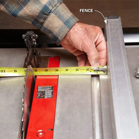 <b>Avoid burn marks and kickbacks</b><br/><p>It&rsquo;s  critical that the fence be parallel to the saw blade, especially during rip  cuts. If it&rsquo;s not, the blade will bind on the wood and cause a burned edge on  your board, or worse, a dangerous kickback. If you have a saw with a  top-quality fence that locks down squarely, then you should only need to check  and adjust the fence the first time you use it. Read your owner&rsquo;s manual for  instructions on adjusting your fence. Fences on less expensive saws can be  inconsistent, and you&rsquo;ll need to check every time you reposition the fence.</p> <p>Here&rsquo;s  how: Measure the distance between   a saw  tooth and the fence at the front and back   of  the blade. Raise the blade fully for the most   accurate check. </p>