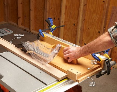 <b>Make narrow rips safely and avoid burn marks and kickbacks</b><br/><p>The problem with making repetitive narrow rips on a table saw is that the  blade guard and the fence are too close together to allow a push stick to fit  between them. The solution is to move the fence away from the blade and clamp  the sled base to the fence. Then build a push sled like the one shown to push  the narrow rip cut through the blade. The sled slides under the blade guard and  keeps your hand a safe distance from the blade, allowing you to make thin rips  safely and easily.</p>  <p> To use this setup, rip your  board as you normally would by sliding it against the fence extension. When you  get within reach of your push sled, hook the sled behind the board you&rsquo;re  ripping and push it through, just like you would if you were using a regular  push stick.</p>
