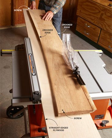<b>Use a surrogate straight edge</b><br/><p>If you  run the crooked edge of a board against the table saw fence, you&rsquo;ll still have  a crooked board when you&rsquo;re done ripping. Or worse, the board will get bound  between the fence and the blade during the cut.</p> <p>Here&rsquo;s a handy, low-tech way to straighten the edge of any board. Just  fasten the crooked-edge board to a straight strip of plywood, letting it  overhang the edge. Then run the straight edge of the plywood against your table  saw fence to make a perfectly straight edge on your crooked board. </p>