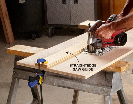 <b>When you can't or don't want to use a table saw</b><br/><p>Even if  you own a table saw, sometimes it&rsquo;s easier to rip large sheets of plywood with  a circular saw. The trick to a perfectly straight cut is to clamp a  straightedge to the plywood and use it as a guide for your saw. On most  circular saws, the distance between the edge of the saw&rsquo;s base and the blade is  1-1/2 in., so you can simply position the straightedge 1-1/2 in. from your  cutting line. But measure this distance on your saw to be sure.</p> <p>You can buy a straightedge or use the factory edge of a plywood sheet.  If your straightedge only has one straight edge, be sure to mark it to avoid  using the crooked side.</p>