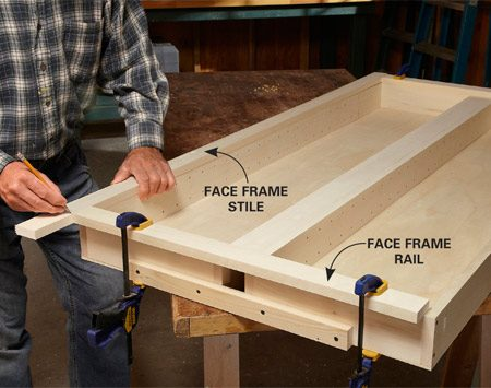 <b>Photo 2: Fit the face frame parts to the cabinet</b></br> Cut the top and bottom rails to fit between the cabinet sides. Clamp them in place temporarily. Then mark the length of the stiles and cut them. Assemble the face frame with pocket screws.
