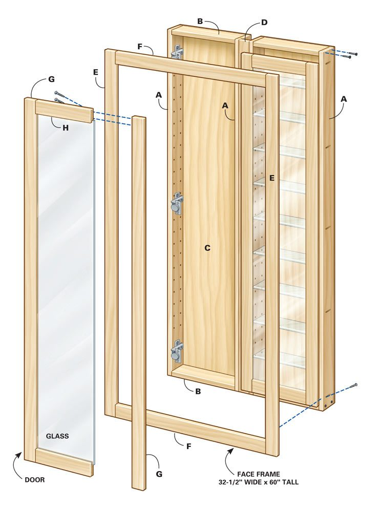 Exploded view of cabinet with glass doors.