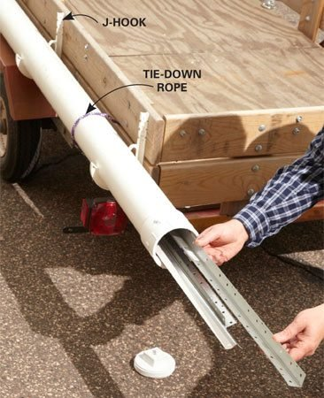 <b>Carry long items safely</b></br> <p>Ever tried to transport long or  fragile   items like pipe, drywall corner  beads or   drip edge? First you have to tie  them in   a bundle. Then you have to secure  the   bundle to the trailer. Forget  that!   Instead, build the same kind of  rig a   plumber uses. Then just slide in  the   long items, screw on the cap,  secure a   red flag and you're good to go.  Build   the entire unit for about $25.</p> <p>Buy a 10-ft. length of 4-in. PVC  pipe,   an end cap, a cleanout adapter,  PVC   cleaner and adhesive, and four   J-hooks. Prime and glue the end  cap   and clean out adapter. Take  advantage   of the wasted space on the side  of your    trailer and mount the tube there.   Secure the four J-hooks to the  side of   the trailer and snap the tube  into place. Tie the rig with rope for added security.</p>