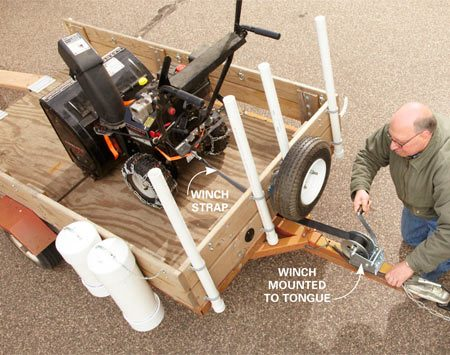 <b>Winch it in</b></br> Boat owners use a winch to pull their boat onto the trailer. You can install one on a utility trailer, too. It'll save your back and eliminate the need for a helper. Just wrap the strap around the heavy object and crank it up the ramp toward the front of the trailer. A winch with a 20-ft. pull strap and hook costs about $35 - $40. Bolt it to the trailer A-frame or tongue.