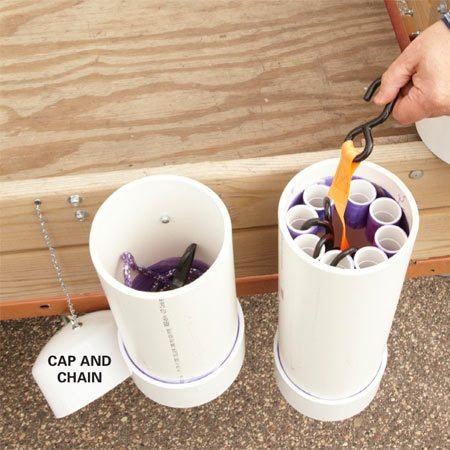 <b>Dry storage for small stuff</b></br> Here's a great way to store your ratchet straps and bungee cords with the trailer, where they belong. Build vertical storage bins from 6-in. PVC pipe. Glue a cap on the bottom and drill a hole in it to overcome the suction when you pull off the lid. Then mount a handle on the top cap and attach a chain. Perfect dry storage for whatever will fit inside.