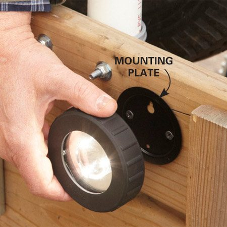 <b>Light it up</b></br> <p>It's a  given—you never have a working flashlight   when you  need one. If you've ever loaded a trailer or   hooked one to the hitch in the  dark,   you know it's not fun. These  magnetic   LED tap lights (the Energizer   Hard Case Professional 3-LED   Area Light; sold at <a href='http://www.opticsplanet.com' target='_blank' rel='nofollow'>opticsplanet.com</a>) are removable so they won't   get wrecked. Just mount the  backing   plate where you'll get the best   illumination for loading and  hitching,   then slap the light onto the   plate. These babies are  weatherproof,   unlike most tap lights. But   stow them before you take off.  The   magnets might not hold them on   rough  roads.</p>