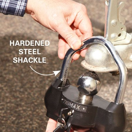 """<b>Security </b></br> <p>Trailer thieves get quite a   laugh out of coupler """"latch   locks."""" They can cut them in   an instant with even the   smallest bolt cutter. Then   they're on their way with your   trailer. If you want real  protection,   use a coupler lock that   presents thieves with a real   challenge. (Shown here is the   Trimax UMAX100 Universal   Coupler lock; sold at <a href='http://www.jegs.com' target='_blank' rel='nofollow'>jegs.com</a>.) Just insert the ball into   the coupler and slide on the   U-bracket. Unless the thief   has the time to unbolt the   entire coupler and install a   new one, you'll be well protected.</p>"""