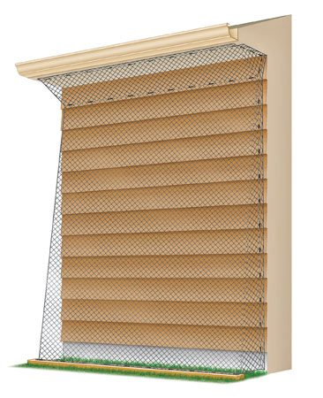 <b>Fence them out</b><br/>Drape plastic netting from the gutters and angle it toward the house. Staple it to the siding. Then angle it to the ground, about 3 in. away from the house. Staple it to 2x4s on the ground. Wrap the edges toward the house to seal the entire area.