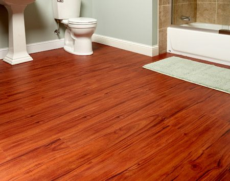 <b>Instant bathroom makeover</b><br/>Nothing changes a room's look more drastically than a new floor. Luxury vinyl plank flooring has a great impact-to-ease-of-installation ratio.