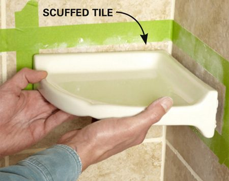 <b>Step 2: Install the shelf</b><br/>Remove the tape liner and press the shelf into place. (Position the shelf carefully&mdash;once the tape sticks, you can't move it easily.) Wipe off the excess caulk and tool the joint with a damp rag or fingertip.