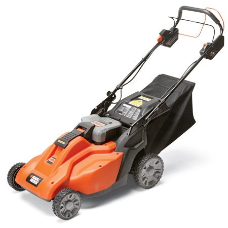 This heavy self-propelled mower rivals gas mowers<br/> in size and grass-cutting ability.