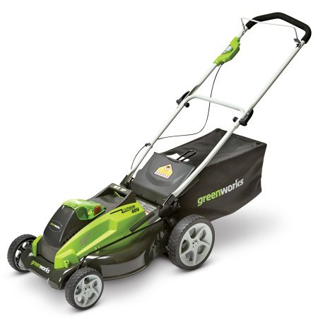 Even with its sturdy metal deck, this cordless mower is<br/> still 20 lbs. lighter than comparable-size models.