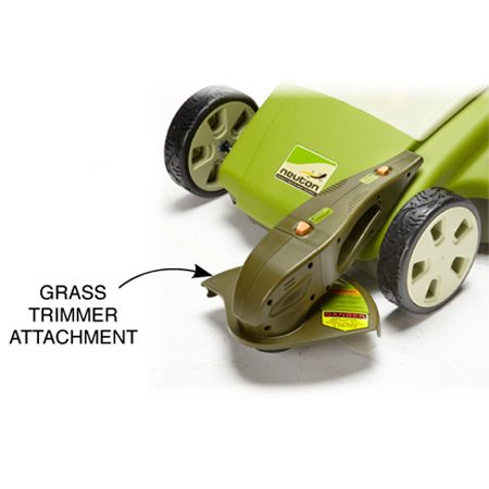 The Neuton Ce6 is the only mower with a convenient<br/> string trimmer attachment. The attachment can be<br/> rotated 90 degrees for trimming or edging.