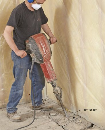 <b>Photo 2: Bust up the floor</b></br> Remove 16 in. to 18 in. of concrete along the wall with a rented electric jackhammer. Start by chipping in a straight line along the entire length of the wall, then come back and bust it into manageable chunks.
