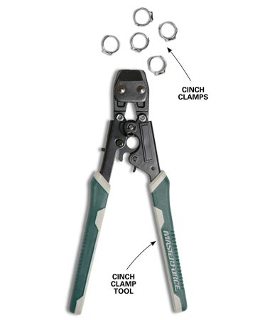 <b>Cinch clamps and clamp tool</b></br> <p>Les likes to work with the brands of PEX that can be connected with cinch clamps. Just slide the cinch clamp over the PEX tubing, and then tighten the clamp with a cinch clamp tool. Cinch clamp tools are sold at home centers.</p>