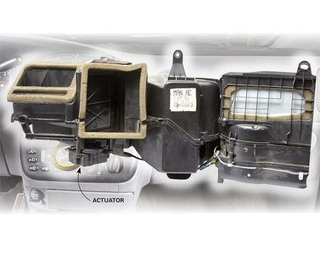 <b>Locate the actuator</b></br> Remove the glove box and under-dash trim panels to find and replace the actuator.