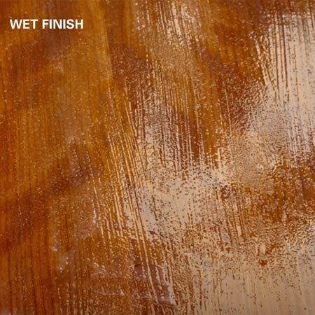 <b>Wet finish</b><br/>Water-based poly should be laid down with a couple of quick strokes. Don't worry too much about the appearance of the wet finish. It will look awful at first, but water-based poly has an amazing ability to pull tight as it cures, like shrink wrap.
