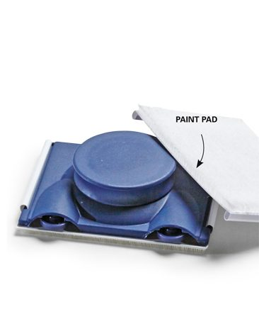 <b>Paint pad</b><br/><p>For large, flat surfaces like tabletops, I turn to a paint pad. It allows me to lay down an even coat in seconds and maintain a wet edge, even over a big area.</p>