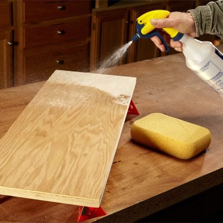 <b>Avoid blotches</b><br/><p>Dry wood can aggressively suck up dye or stain, making it hard to control the color penetration. The result can be a dark, blotchy mess. For added control, try wetting the wood with distilled water right before you apply the dye or stain. (Be sure you've raised the grain first.) The increased open time makes the color easier to control. A household pump sprayer or sponge works great.</p>
