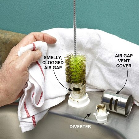 <b>Clean the air gap with a brush</b></br> Soak the bottle brush in household cleaner and plunge it up and down into the air gap.