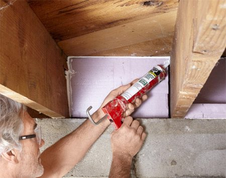<b>Seal all the gaps</b><br/>If you cut rigid insulation to fit, you'll still have gaps to fill. Fill small gaps with caulk, and larger ones with expanding spray foam from a can.