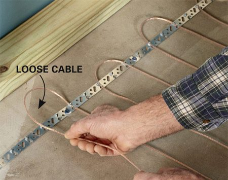 <b>Loose-cable electric floor heating</b><br/>Loose cable floor heating is more work to install, but costs less than mats.