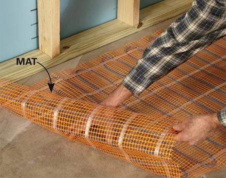 <b>Floor-heating mats</b><br/>Floor-heating mats cost more than loose-cable systems, but are easier to install.