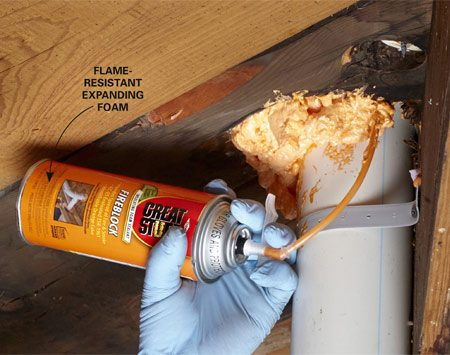 <b>Seal ceiling holes around pipes and wires</b><br/>There are a number of reasons to seal between the basement and upstairs. The first is safety. The second is energy savings.