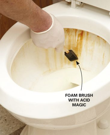 <b>Make rust stains vanish</b></br> <p>If you have a lot of iron in your   water and struggle with rust   stains in your toilet or bathtub,   here's a perfect solution.   Acid Magic dissolves   rust like, um, magic. It's as   powerful as muriatic acid   but much safer and more   pleasant to use. You   should still take all the   precautions you would   with any strong cleaning   solution, like wearing   gloves and safety glasses   when you're using it. But it's better  than   regular acid because there are no  noxious   fumes, and it won't burn your skin.</p> <p>To clean rust from toilets and other  porcelain   surfaces, add one part Acid Magic to three parts water. Apply the mixture  to   the rust stains with a sprayer, brush  or   foam pad and watch the stain dissolve.   Rinse with clear water. You can also  use it   full strength for stubborn stains.  Avoid   getting the acid on metal parts because they can discolor. </p>