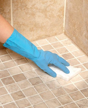 <b>Magic Eraser sponge</b></br> <p>Whether it's built-up soap scum on the   shower walls, ground-in dirt on the  floor tile,   or dried toothpaste on the vanity top,  a   Magic Eraser sponge will make short  work of   it. Just dampen it and rub it on the  offending   mess. In most cases, the mess will come   right off. These sponges are especially  useful   for removing ground-in dirt from porous  floor   tile and getting those pesky nonslip  strips in   the bottom of your tub clean.</p> <p>Magic Eraser sponges are available at  grocery   stores, hardware stores and wherever   cleaning supplies are sold. Unlike  regular sponges, they wear out pretty fast, so stock  up. </p>