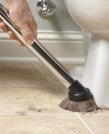 <b>Avoid soggy dustballs</b></br> <p>Do you ever find yourself chasing  strands of wet hair or running into dust balls in   the corners with your sponge or  cleaning rag? You can eliminate this nuisance by   vacuuming the bathroom before you get  out your cleaning solutions.</p> <p>For a really thorough cleaning, start  at the top, vacuuming the dust from light fixtures   and the top of window casings. Then  work your way down. And finally, vacuum the   floor methodically so you cover every  inch. You don't want to leave any stray hair or   dust bunnies to muck up your cleaning  water. A soft-bristle upholstery brush works best for this type of  vacuuming. </p>