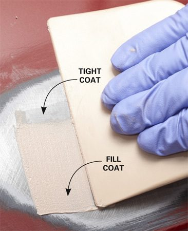 <b>Add more filler</b></br> Wipe on a thicker layer of filler to completely fill the dent.