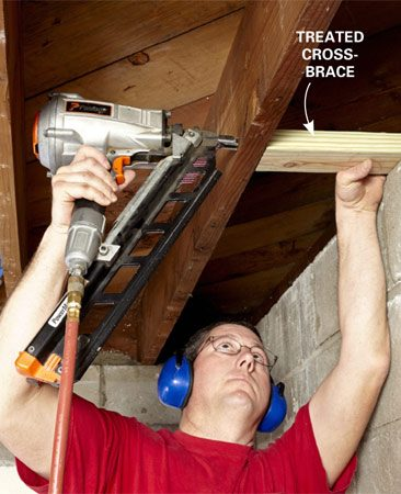 <b>Install blocking for attaching the top wall plate</b></br> Screw or nail one side of the block through the joist, and secure the other side to the sill plate. Use treated lumber if the brace will come in direct contact with bare concrete.