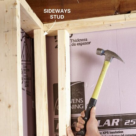 <b>Framing inside corners</b></br> Turn the last stud on the first wall sideways and overlap it about halfway past the connecting wall to create drywall backing.