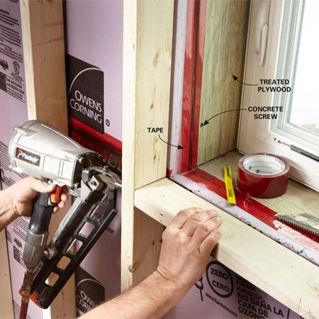 <b>Build out around windows</b></br> Windows set in a block or concrete wall will need wood around them in order to attach the drywall or jamb extensions.