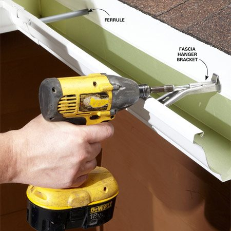 <b>The fix: Better brackets</b><br/><p>Years ago, spikes and ferrules were a  common   method for hanging gutters. They do the  job all right,   but eventually the spikes work  themselves loose.   Pounding them back in is a temporary  fix at best.</p> <p>One way to make sure your gutter  doesn&rsquo;t fall off the   house is to install fascia hanger  brackets. Installation is   simple: Just hook the bracket under the  front lip of the   gutter, and then screw the other side  of the bracket to   the fascia. Leave the old spikes in  place—a spike head   looks better than a hole in the gutter.</p>