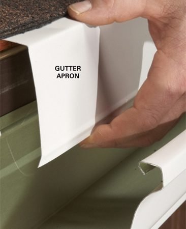 <b>The fix: Install new flashing</b><br/><p>If water is dripping behind your  gutter, it&rsquo;s   probably because it was installed  without   any flashing over the back of the  gutter.   Gutter apron will prevent the dripping.</p> <p>Gutter apron is a bent piece of  flashing   that tucks up under the shingles and   over the gutter. Home centers sell  10-ft.   sections. You may have to   temporarily remove your hangers as you   go, or you can notch out the apron   around them. Once the apron&rsquo;s in place,   fasten it with sheet metal screws.</p>