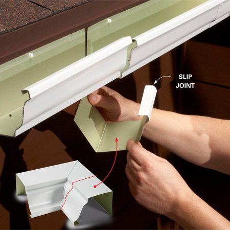 <b>The fix: Make your own!</b><br/><p>If a tree branch falls on the last 4  ft. of   your 60-ft. seamless gutter, you don&rsquo;t   need to replace the whole thing; just   replace the damaged section. If your   gutters are white or brown, adding a  section   of gutter to an existing section is   easy. Most home centers sell white and   brown sections of gutters as well as  slip   joints to tie them together.</p> <p>If your gutters are a custom color, a   home center can special-order your   color but not the slip joint to match.  But   don&rsquo;t worry; you can make your own   from a box miter, and box miters are   available in every color gutters are  made.</p> <p>When you buy your new gutter section,   make sure you order either an inside   or outside box miter at the same time.   Cut a 3-in. section from the box   miter with a tin snips, and you&rsquo;ve   got yourself a custom slip joint.   Hang the new gutter next to the   old one, and then slide the patch   under the seam. </p>