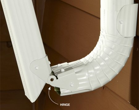 <b>The fix: Add some hinges</b><br/><p>Are you tired of removing your  downspouts   every time you mow? Consider   installing a hinge where the lowest   elbow meets the section of downspout   that runs into your yard.</p> <p>Installation is simple: Just cut the   downspout at a 45-degree angle with a   tin snips or metal-cutting blade and fasten the hinge with  sheet metal screws. You&rsquo;ll find them online with a search for &ldquo;gutter hinges.&rdquo; </p>
