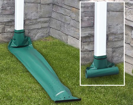 <b>The fix: A rollout spout</b><br/><p>There is no perfect way to get water   from one side of a sidewalk to the   other, but consider installing a  retractable   downspout. It rolls out when it   rains and then rolls back up when the   water stops flowing. Products like   these do leak when the water flow is   too light to extend the plastic  downspout,   but they should keep your landscaping   from washing away during   moderate to heavy rains.</p> <p>Retractable downspouts are super   easy to hook up, and they might be just  the solution you&rsquo;re   looking for. Pick one up at a home center or order  online. </p><br/>Photo courtesy of Frost King