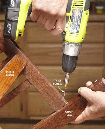 <b>Screw those chair repairs</b></br> Drill a pilot hole and drive a screw for an ugly but sturdy chair. Be sure to use a long enough screw.