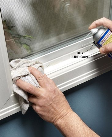 <b>Lubricate vinyl doors and windows</b></br> Sticky vinyl windows and doors? Try spraying dry lubricant on the contact points and wiping it off with a rag. Don't use oil lubricants; they can attract dirt, and some can damage the vinyl.